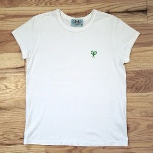 Juicy Couture white embroidered short sleeve tee